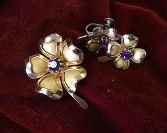 Vintage Signed Coro Brooch and Earrings Set Gold Tone Shamrock Purple Stone