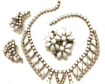 White Milk Glass Demi, Necklace Brooch Earring Set, Milk Glass & Clear Crystals, Silver Tone Metal, Vintage Mid-Century, Wedding Jewelry