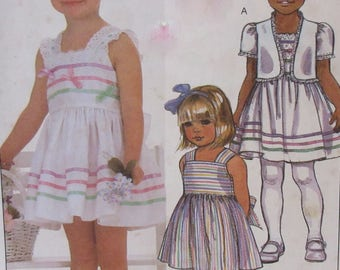 Vintage 1985  McCalls #9544  Ruffles and Lace   Sewing Pattern  Girls Sundress and Jacket Sizes 4-5-6 NEW, Uncut Pattern