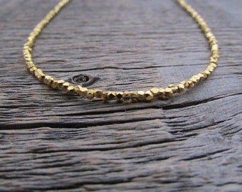 Gold Bead Necklace, Gold Vermeil Necklace, Hill Tribe Gold Necklace, Boho Necklace, Bead Gold Necklace, Gold Wrap Bracelet, Gold Jewelry