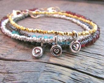 Heart Charm Bracelet, Valentine Bracelet, Heart Bracelet, Silver Heart Bracelet, Heart Jewelry, Bead Bracelet, Valentine Gift, Valentine Day