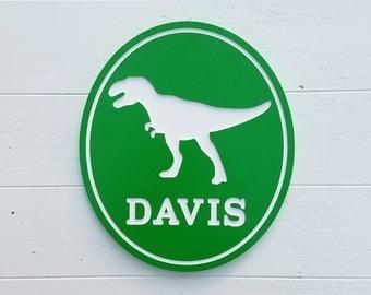 Personalized Dinosaur Sign; Custom Engraved Dinosaur Wall Art; Kids Dinosaur Sign