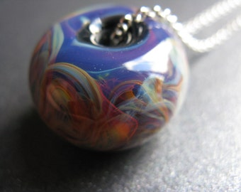 50% OFF SALE - Lampwork Necklace, Borosilicate Lampwork, Sterling Silver, Blue, Green, Yellow, Orange, Purple, Art Glass - Serendipity