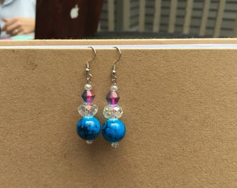 CLEARANCE - Handmade Blue and Pink Glass Bead Earrings