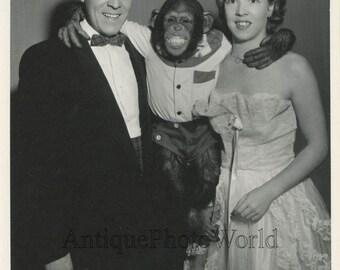 The Trondas circus performers animal trainers w chimpanzee chimp vintage photo