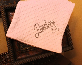 Monogrammed Soft Pink Minky Straight Stitch Baby Blanket, Personalized Baby Blanket, Minky Baby Blanket