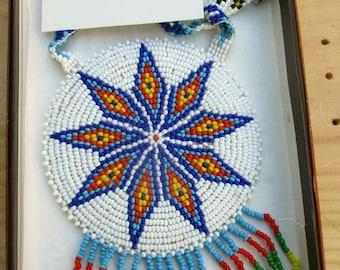 Sioux Nine Pointed Star Beaded Pendant Medallion with Beaded Strap Handmade