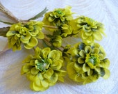 Vintage Millinery Flowers Marigolds Shaded Chartreuse Green NOS Germany for Hats, Crafts, Hair, Corsage, Bouquets 4FV0180G