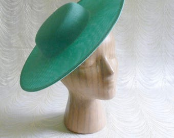 Large Aqua Green Saucer Hat Base Straw Fascinator Hat Form for DIY Hat Millinery Supply Round Shape 12 inch Wide Brim