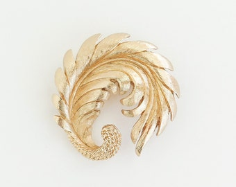 MONET Golden Feather Brooch Pin