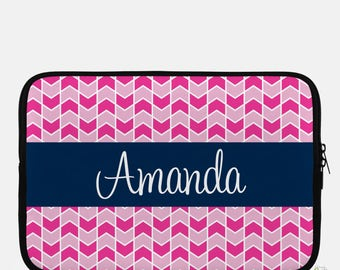 """Monogrammed Laptop Sleeve, Personalized 15"""" Neoprene Laptop Sleeve, Monogram Computer Case, Zip Up Computer Laptop Sleeve, Which Way Design"""