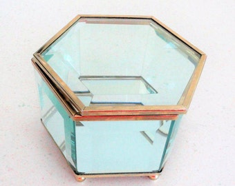 Hinged Brass and Glass Paneled Jewelry Box Trinket Box Collectible 1980 Made in China
