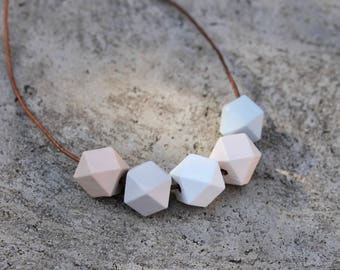 Geometric Wood Necklace // Neutral Faceted Wooden Bead Necklace // Hand Painted// Hedron Necklace - White, Sand, Grey