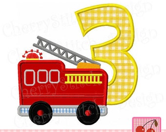 Fire Truck number 3 Birthday Machine Embroidery Applique Design -4x4 5x5 6x6 inch