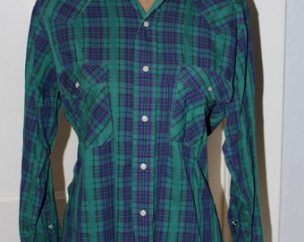 Vintage 70's Blue And Green Plaid Western Long Sleeved Shirt With Snap Style Buttons