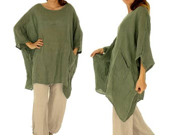 HZ800GN ladies tunic poncho blouse linen gauze layered look one size green Gr. 42, 44, 46, 48, 50, 52, 54