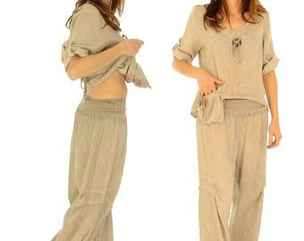 DY300BG44 mega wide pants size 42/44 linen vintage style of the layer Gr. L beige