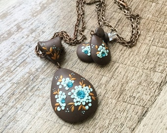 Gift Set - Rustic Jewelry Set - Brown Earrings and Necklace, Teardrop Statement Necklace, Piper Pixie Designs Exclusive, Boho Jewelry Set