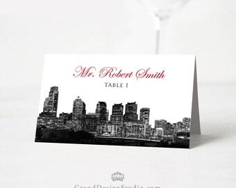 Philadelphia Skyline Tented Wedding Place Cards - Philadelphia Escort Cards - City Wedding Seating Cards - Custom - Blank or Personalized