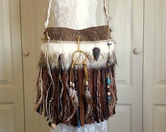 Native American Indian Inspired Fringe Bag  - Navajo Dream Catcher Boho Gypsy Bag - Faux Arctic Wolf Fur - Tribal Bag - Hippie Bag