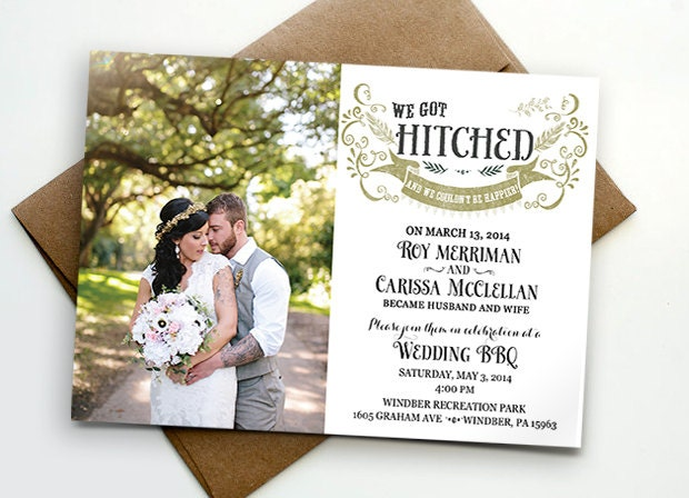 Hitched Wedding Invitations: Post Wedding Reception Invitation / We Got Hitched