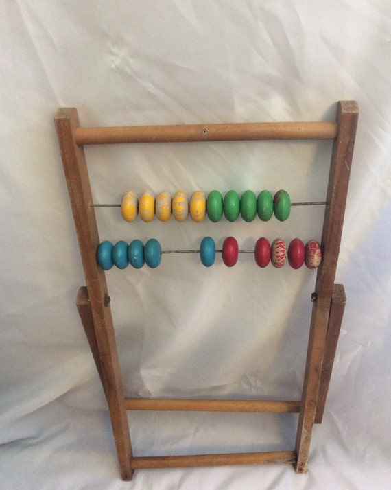 Vintage billiard, snooker counter, vintage abacus, colorful counter, primitive abacus, vintage wooden score keeper, primitive wooden abacus