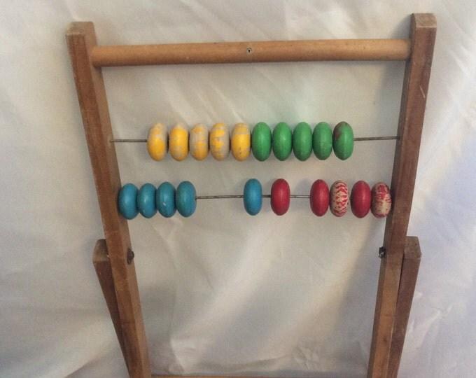 Vintage billiard, snooker counter, vintage abacus, colorful counter, primitive abacus, vintage wooden score keeper, primitive wooden abacus