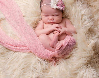 Pink floral Newborn chiffon pearl headband, newborn baby, vintage chic headbands, infant headband photo prop