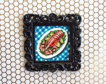 Lobster Platter Painting, Original Painting, Lobster Art, Red Lobster, Nautical, Lobster Painting, Food Painting, Food Art, Framed Painting