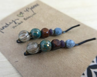 Gray. Teal Bohemian Hair Pin Set. Statement Bead Bobby Pins. Set of 2. Rustic Hair Clips. Modern Hair Accessories. OOAK