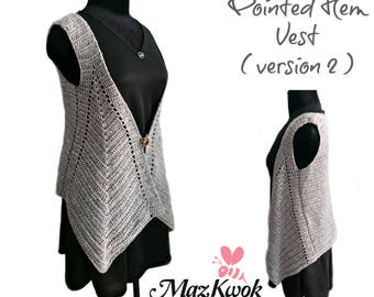 Pointed hem vest (version 2) pdf crochet pattern ( size S - 3XL )