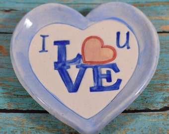 Love Heart Ring Dish, Blue Jewelry Dish, Porcelain Heart Dish, Wedding Gift, Valentine's Day Gift, Handmade Soap Dish