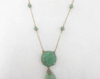 Antique Hand Carved Jade Necklace - 14 karat yellow gold