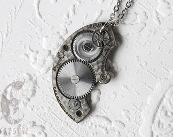 Steampunk Statement Necklace Pendant - Pocket Watch Pendant - Guilloche Etch Antique Pocket Watch Plate Bridge Pendant Gift