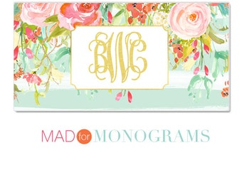 Personalized License Plate -  Monogrammed License Plate - Preppy Floral Car Tag - Custom License Plate