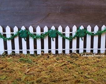 Miniature White Picket Fence with Shamrocks - Fairy Garden Accessories Saint Patrick's Day Four Leaf Clover Irish Miniature Garden Fence