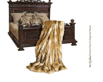 Plush Faux Fur Throw Blanket, Bedspread - Luxury Fur - Gloden Brown Coyote Stripe - Minky Cuddle Fur Lining - Fur Accents USA