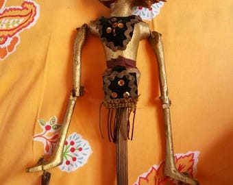 String Puppet Marionette Indonesian Bali Gold Carved Wood Rod Shadow Wayang Golek Kulit 21 in Ornate Painted Face Whimsical Decor Prop Doll