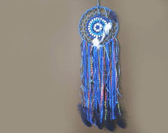 "Dreamcatcher, Dream Catcher, 25"" Bohemian White Blue Dreamcatcher, Hand Dyed Blue Doily Feather Wall Hanging, Long Doily Boho Dreamcatcher"