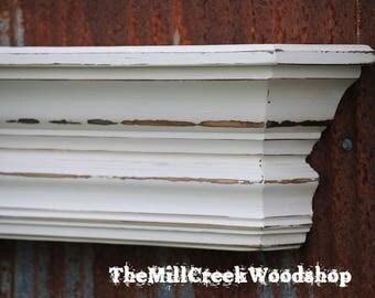 "Wall Shelf 36"" Fireplace Mantel Floating Ledge Mantle Crown Molding Wooden Headboard Rustic Home Decor Entryway Farmhouse Barn"