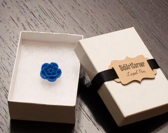 Lapel pin, Mini Royal Blue Sakura Lapel Pin, Flower Lapel Pin, Chrysanthemum Lapel Pin, lapel pin, lapel flower pin,