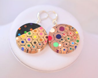 Earrings from colored pencils