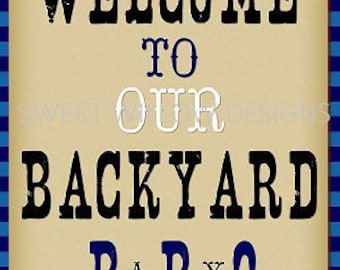 Welcome Sign Royal Blue Baby-Q printable Instant download-By Sweet Willow Designs