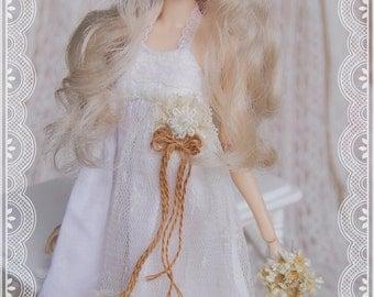 "Blythe/Momoko - ""Spring Flowers"" Dress - CreamyWhite Color"