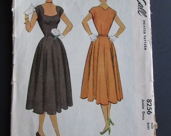 Vintage 1950 Junior Dress McCall 8256 Sewing Pattern Size 11