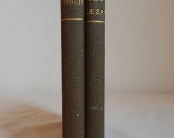 1895 and 1903 Shakespeare's Tragedy of Cymbeline Shakespeare's Julius Caesar  Henry N. Hudson, Antique Green books