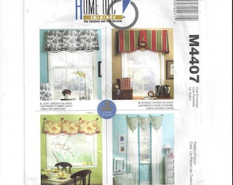 McCall's 4407 Pattern for Home Dec in a Sec Window Treatments by Sue Sampson & Ellen DeLucia, 4 Quick and Easy Valance Treatments, From 2003