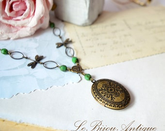 Dragonflies Locket necklace with Green Crustals and moroccan carvings Antique bronze handcrafted chain Two pictures family gift for her