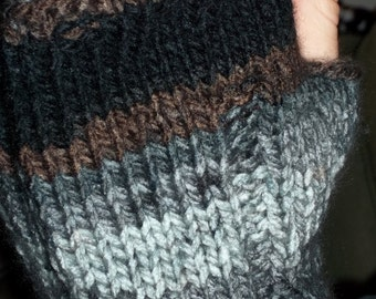 Knit Fingerless Mittens Chunky Man Mitts Men's Knuckle Mitts
