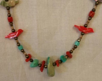 Old Pawn Turquoise Coral & Zuni Bird Necklace, Estate Jewelry, Southwestern Jewelry, Vintage Necklaces, Old Pawn Jewelry (Item#37)